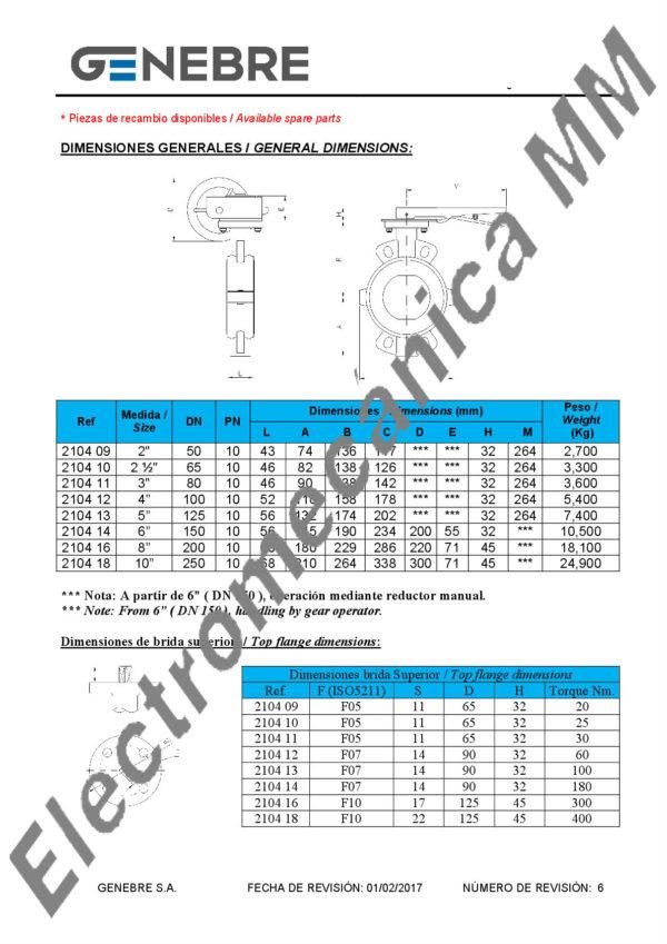 """Válvula Mariposa 8"""" – Genebre – Artículo 2104"""