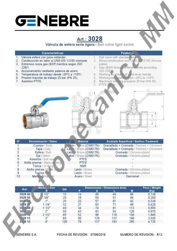 Válvula Esferica Paso Total 4″ – Genebre – Articulo 3028