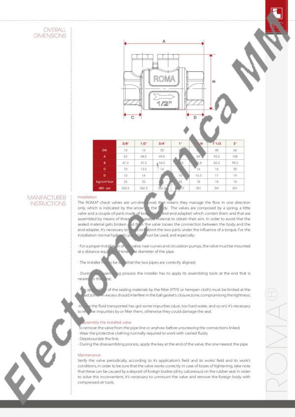 """Válvula De Retención """"ROMA"""" 2″ – ITAP – Articulo 104"""
