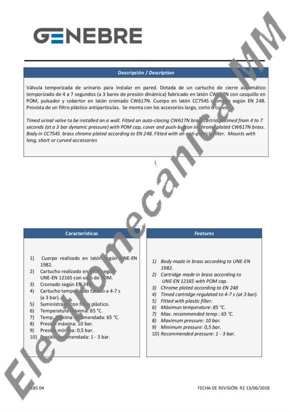 Válvula Temporizada Urinario 1/2″ – Genebre – Artículo 1185 04