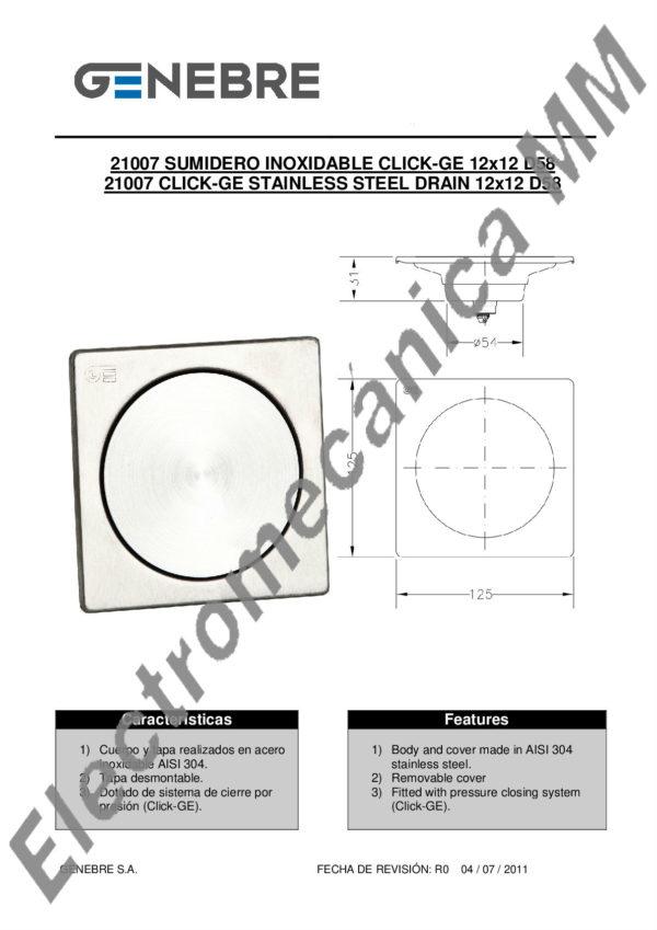 Rejilla 12 X 12 Inoxidable D.58 – Genebre – Artículo 21007