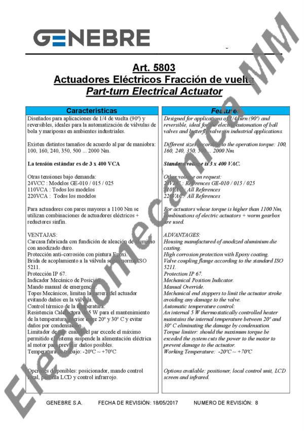 Actuador Eléctrico Trifásico GE-210 – Genebre – Artículo 5803