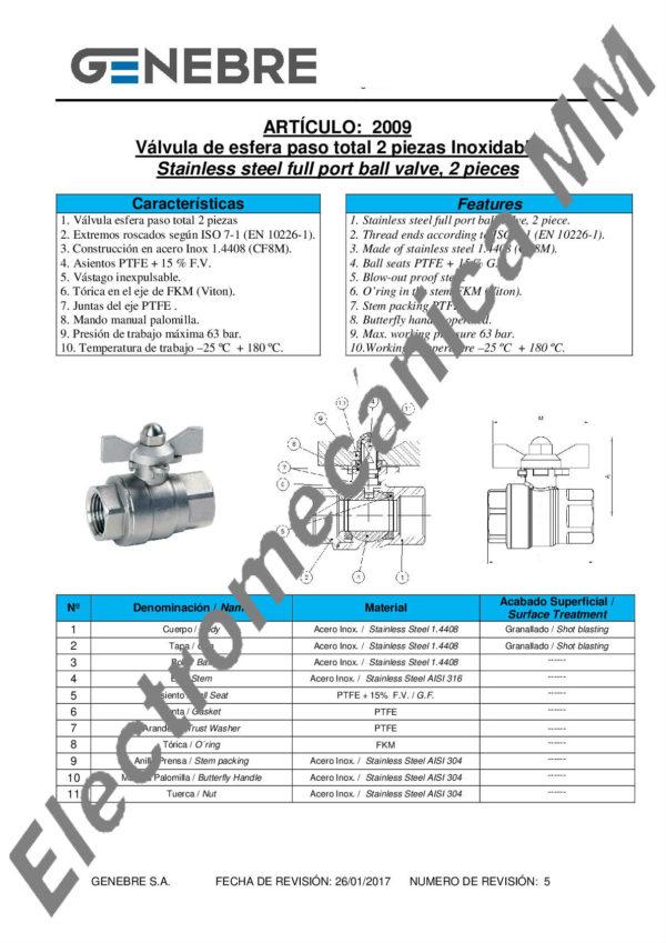 Válvula Esfera 2 Piezas Paso Total 3/4″ – Genebre – Artículo 2009
