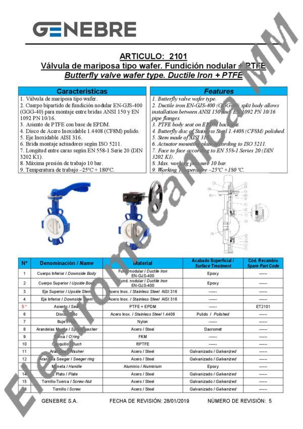 Válvula Mariposa Tipo Wafer 8″ – Genebre – Artículo 2101