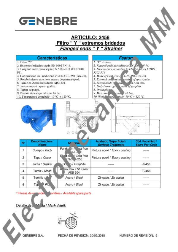 Filtro y Bridas DIN PN-16 5″ – Genebre – Artículo 2458